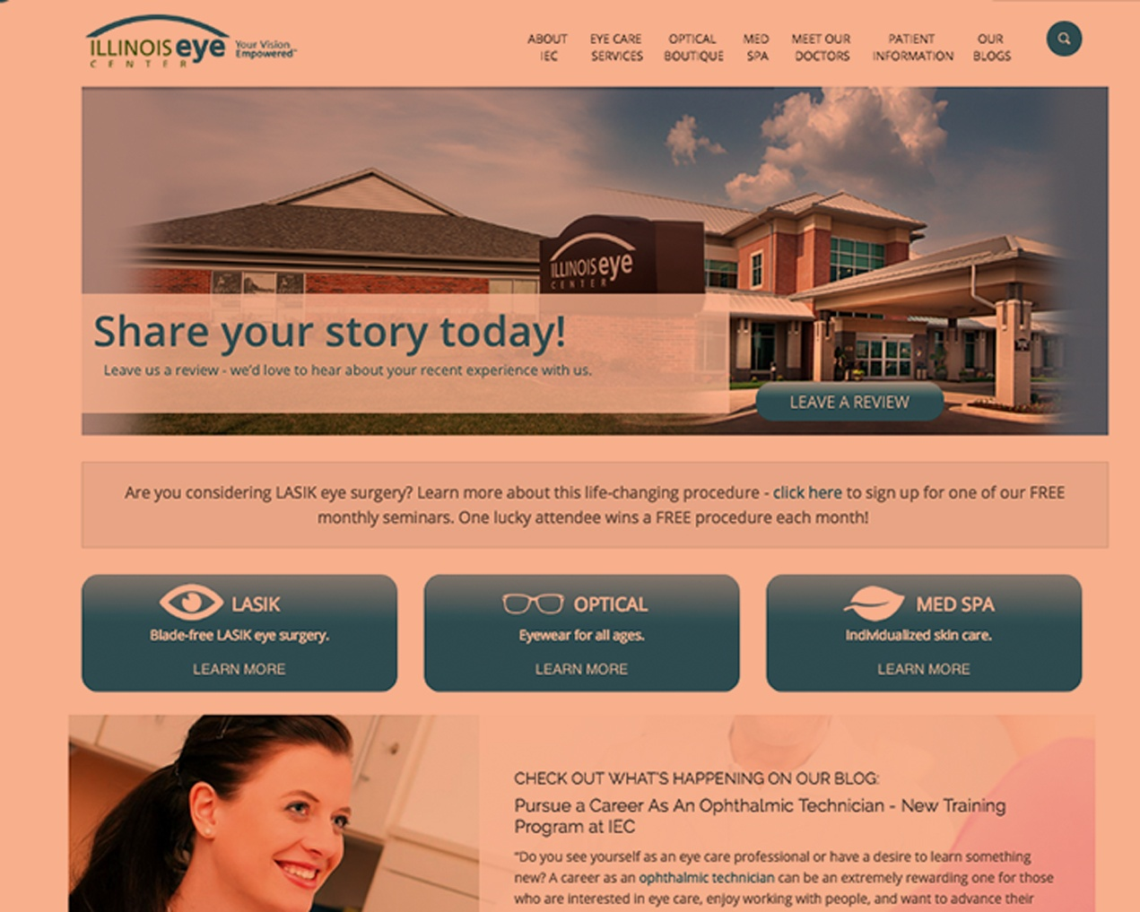 Illinois Eye Center Homepage - 10 tips for a successful website